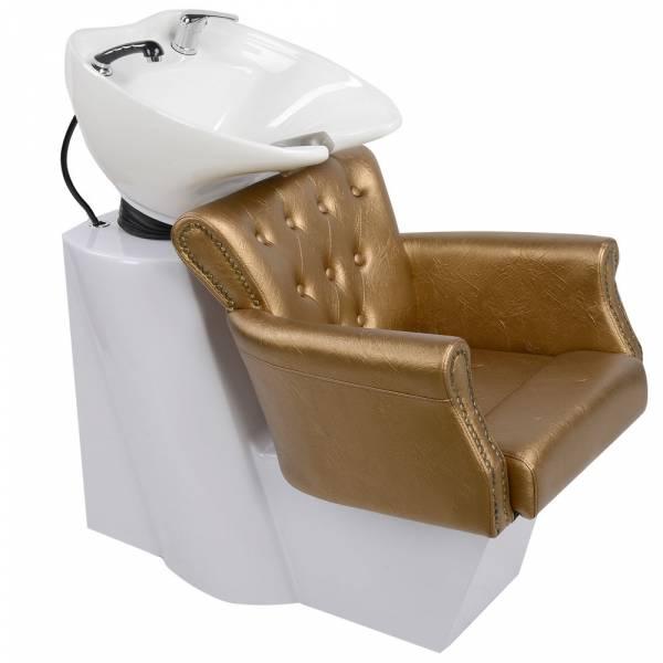 250183 Friseurwaschsessel Rückwärtswaschsessel weiß / gold