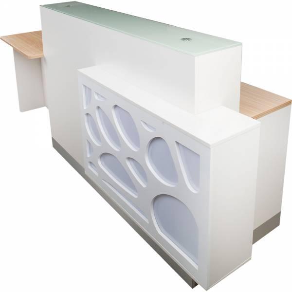 Empfangstresen Empfangstheke 402677 sandelholz / weiß