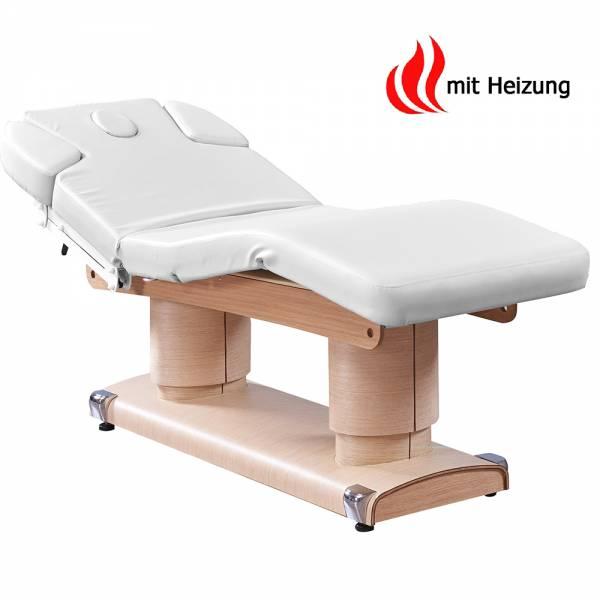 033838H Massageliege Weiß / Braun mit 4 Motoren & Heizung