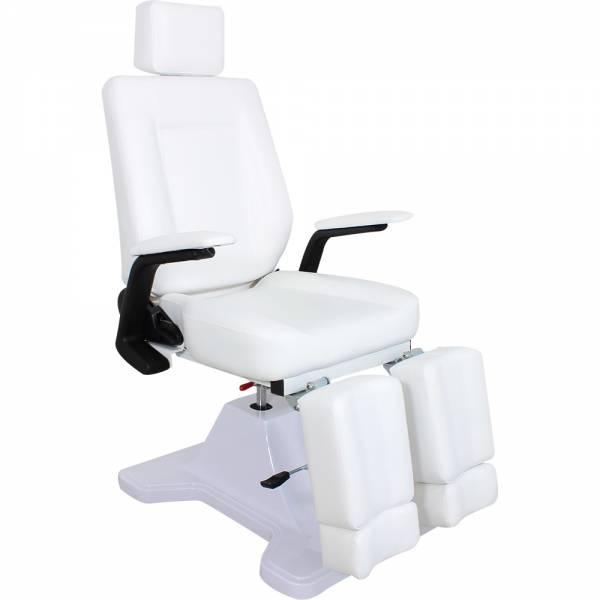 F0107a Hydraulisch-Mechanischer Fußpflegestuhl weiß