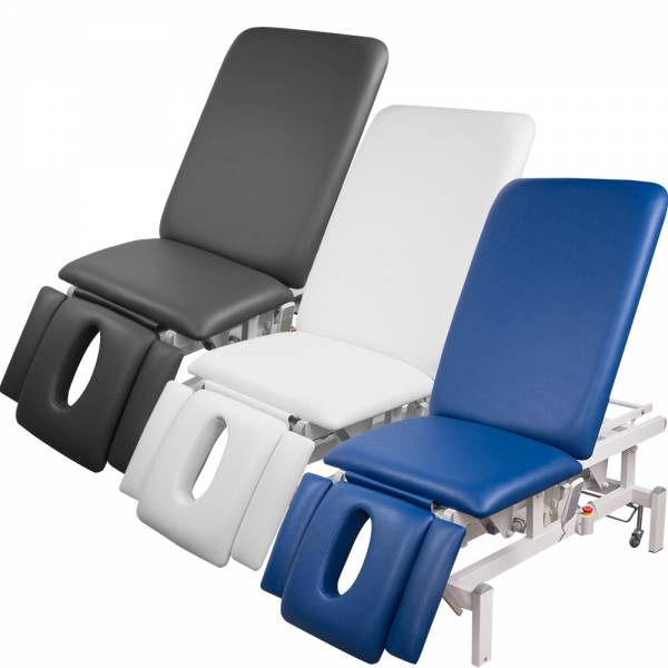 8273 vollelektrische Behandlungsliege weiß, blau, grau